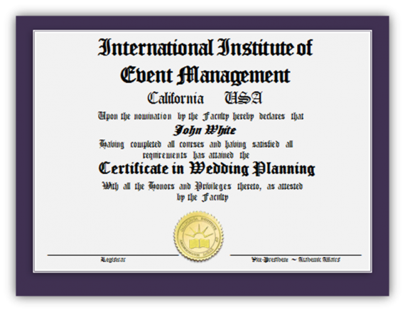 Certificate in Wedding Planning Image