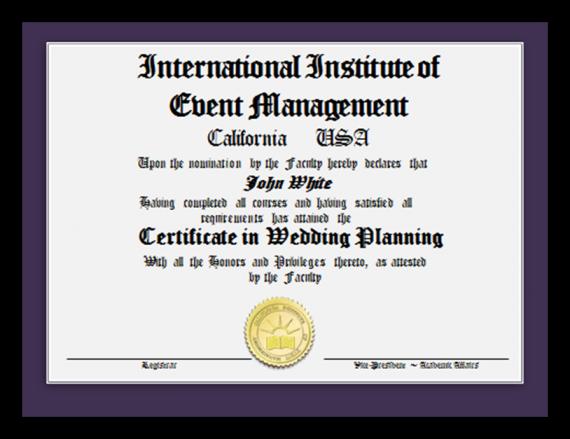 Certificate in Wedding Planning Image
